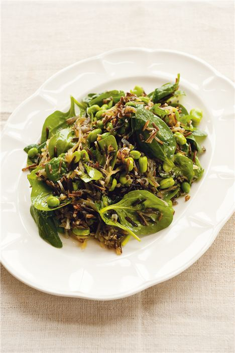 Wild rice, spinach and broad bean salad
