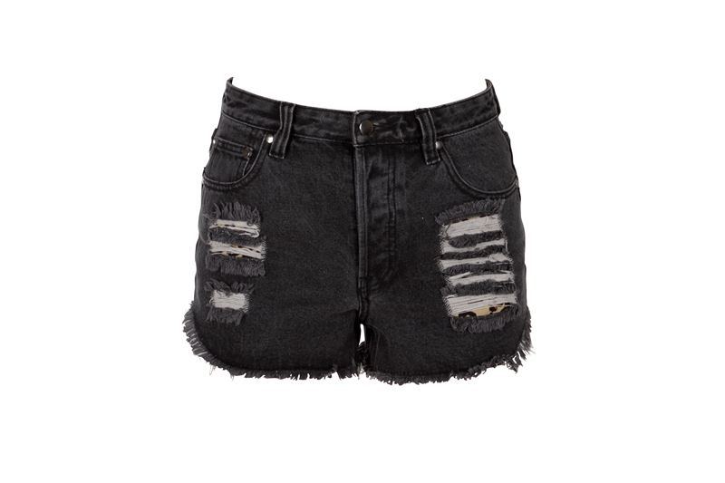 Black Ripped Jean Shorts - Is Jeans