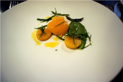 Rubin turnip baked in salt, smoked yolk, sea vegetables and wild mustard