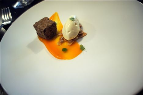 Warm spiced bread, salted almonds, buckthorn curd, smoked clotted cream