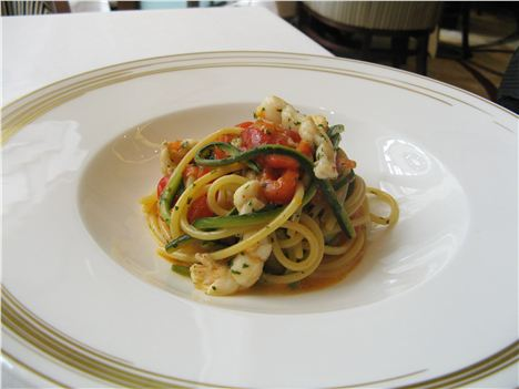 Monkfish Spaghetti With Red Peppers And Courgettes