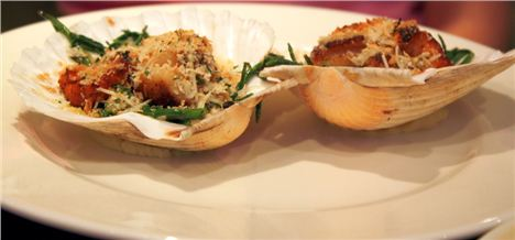 Diver-caught Isle of Man king scallops with English samphire and lemon thyme