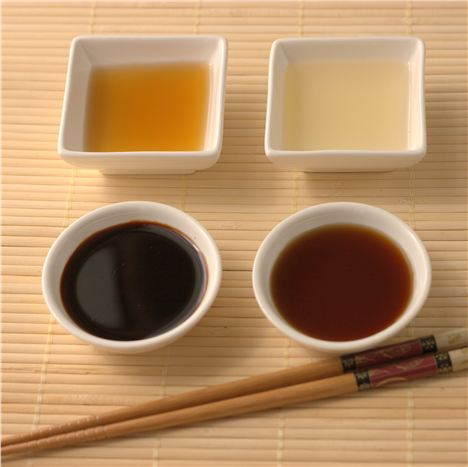Left to right: Mikawa mirin, rice mirin, standard soy sauce, tamari
