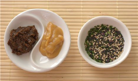 Left to right: Brown rice miso, sweet white miso and furikake