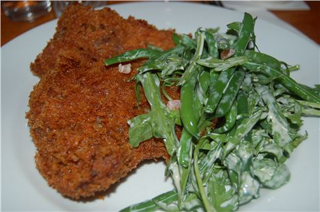 Fried pig%26#8217%3Bs cheek, dwarf beans, rocket and anchovy dressing