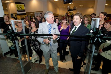 Jeff Banks cuts the ribbon at Debenhams in the Trafford Centre