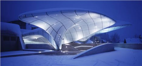 The fluid forms of the station beautifully echo the surrounding glacial landscape. - Werner Huthmacher.