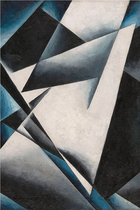 Liubov Popova's 'Painterly Architonics', 1918-19 shares many of its strong geometric forms with the Rusakov Workers Club.