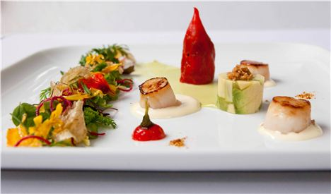Virgilio- Seared Bay Scallops With Confited Aji Limo Chili Pepper And Herbs From The Andes With Naval Avocado Terrine.